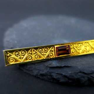 Antique ladys and mens gold brooch with citrine and filigree decoration