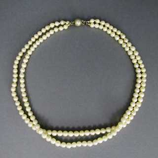 Double pearl necklace with silver clasp