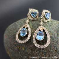 Art Déco diamond and aqua gold earrings