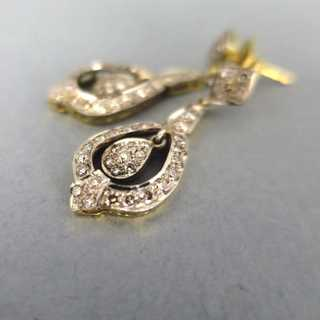 Long victorian stud earrings with diamonds