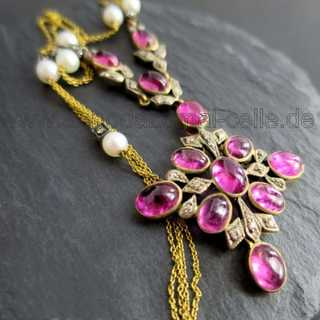Wonderful Art Nouveau necklace with tourmaline, diamonds and pearls
