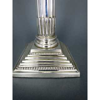 Silver plated column-shaped candlestick