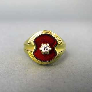 Gold ring with enamel and diamond
