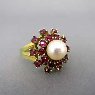 Ruby and pearl cluster ring in 14 k gold