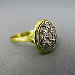 Antique ring with rose cut diamonds from Russia