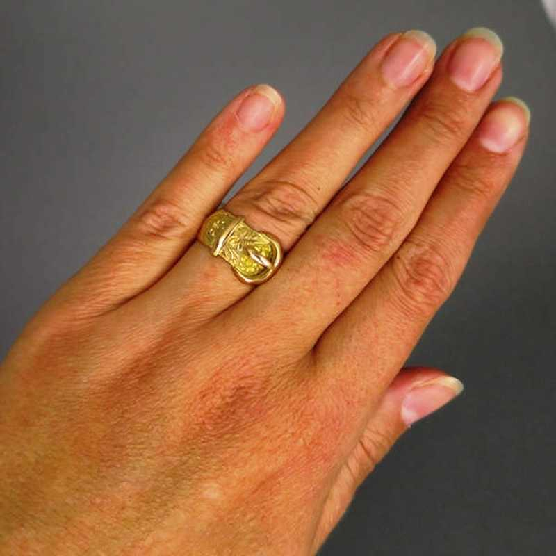 Gold Tone Ring Vintage Buckle Ring Flip Open Ring Adjustable Buckle Ring