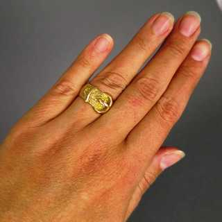 Rare antique gold buckle ring