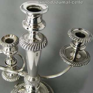 Three-light candelabra, silver plated