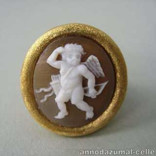 Vergoldeter Ring in Silber mit Putto-Kamee Italien