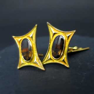 Unique cufflinks with cordierite, in gold