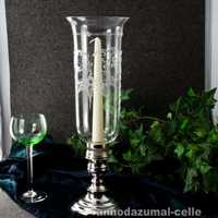 Table lantern with silver plated foot and glas shade