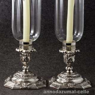 Pair of table lanterns with silver plated foots