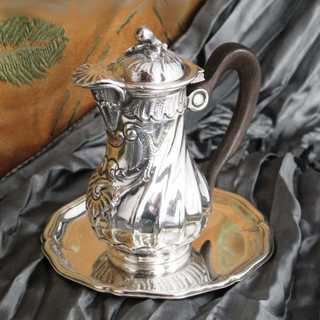 Miniature silver coffe pot with wooden handle and saucer Vavassori Italy Milano
