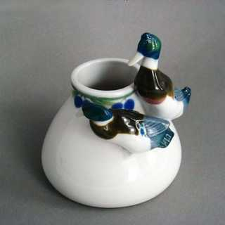 Antique Jugendstil vase with duck figures porcelain Metzler Ortloff Thuringia