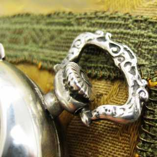 Pocket watch-shaped sterling silver pendant pill box rich decorated Italy Firenze