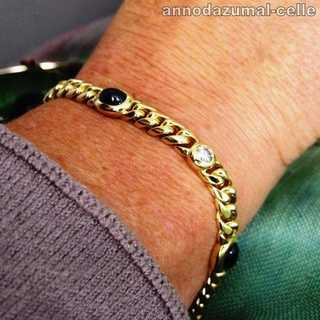 Massives Damen Ketten Armband in 750 Gold mit Saphir und Brillantenn