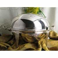 Edwardian silver plated turnover dish