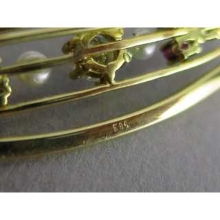 Modernist gold brooch with diamonds, rubies and pearls