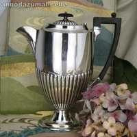 Victorian coffee pot in silver and ebony