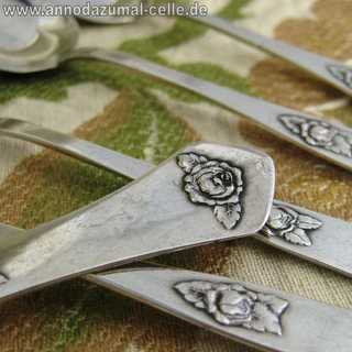 6 silver mocha spoons with rose relief