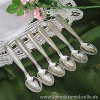 6 silver mocha spoons with acanthus decor