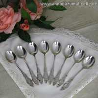 8 antique silver mocha spoons with Frisian pattern