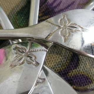 Antique silver pastry forks with Fresian pattern Otto Kropp Burgdorf ca. 1900