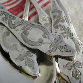 8 antique silver soup spoons with Fresian pattern Otto Kropp Burgdorf Germany