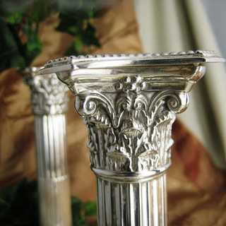Antique silver plated column candlesticks Marks & Co Sheffield England