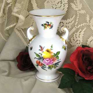 Vintage Herend porcelain vase with flower decor hand painted and gilded