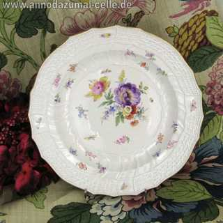 Soup porcelain plate with flowers and insects Meissen
