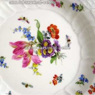 Porcelain plate flower and relief decor Meissen