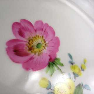 Antique porcelain plate Meissen  pink dog rose handpainted and gilded 1900