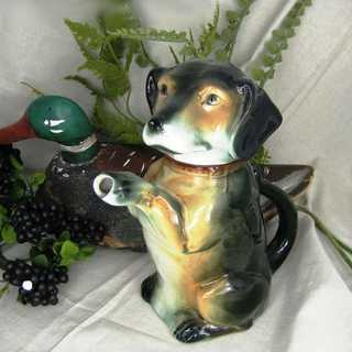Vintage rare Cortendorf ceramic dog can hand painted mid century collectible
