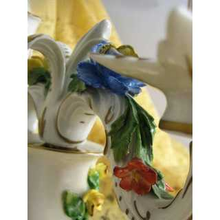 Vintage porcelain candleholder with flowers, Schierholz Plaue in Thuringia