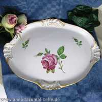 Big porcelain tray with pink rose Thuringia