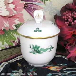 Porcelain sugar bowl green dragon Meissen