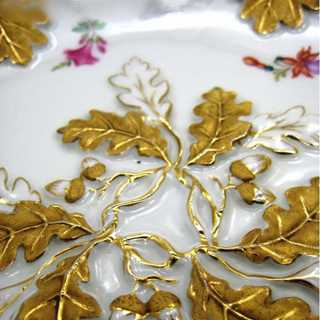 Huge decorative porcelain plate from Meissen oak leaves and flowers hand painted