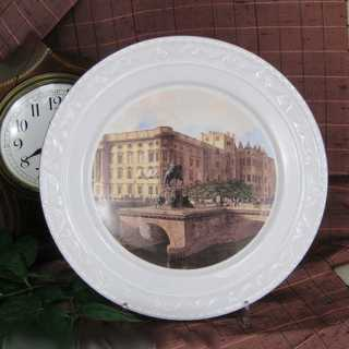 Decorative porcelain wall plate KPM Berlin Old Castle Long Bridge collectible