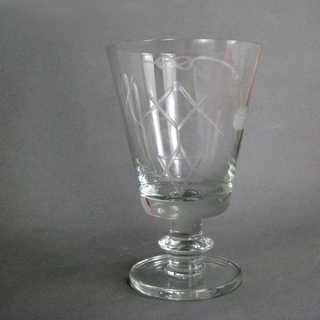 Vintage ine glass with Freemason symbols star square compass trowel engraved