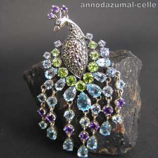 Gorgoues peacock-shaped sterling silver brooch-pendant with stones vintage