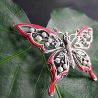 Vintage silver butterfly brooch with enamel and pearls...