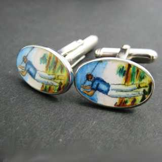Vintage unique enamelled cuff links in silver with golf motif handmade