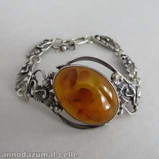 Silver bracelet with huge amber cabochon