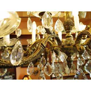 Electric chandelier in bronze and crystal glass