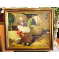Interior painting mother with child oil canvas