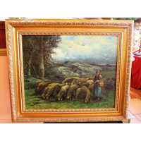 Painting shepherdess Italy oil canvas