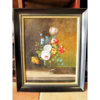 Antique painting, flower in a vase, oil canvas