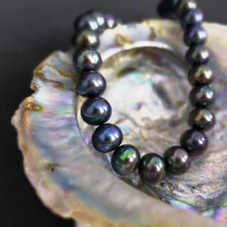 Anthrazite colored pearl great necklace with silver clasp vintage ladys jewelry