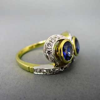 Kostbarer Toi-et-moi-Ring mit Saphiren & Diamanten in Gold, um 1920